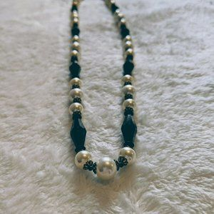 Black Glass Geometric Beads, White Pearl Necklace